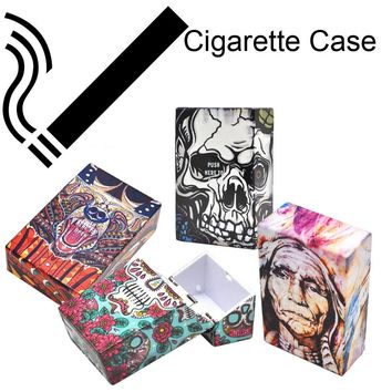 1PC Sugar Skull Plastic Cigarette Box Holder Pocket Tobacco Storage Hard Case Creative new fashion hot Cool Cigarette box Q4
