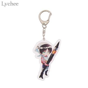 Cool Attack on Titan Lychee Trendy Acrylic  Keychain Cute Cartoon Character Keyrings Fashion Backpack Pendant Accessories AT_90_11