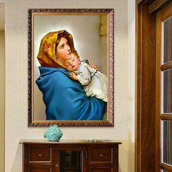 Virgin Mary Holding baby Poster and print of Jesus Christ mother wall art pictures for living room home decor wall decoration 07