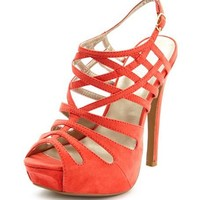 Sueded Strappy Peep-Toe Pump: Charlotte Russe