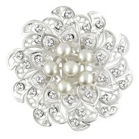 Wedding Brooches Crystal Floral Shell Pearl Flower Bridal Brooches Floral Brooch, Brooches & Pins, Theme Brooches | Pugster.com
