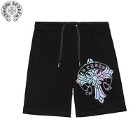 Chrome Hearts 2019 new gradient reflective printing men and women shorts Black