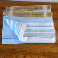 Pair Vintage Cannon Twin Aqua Sheets, Cannon Combspun Flat White and Aqua Blue Sheets, Aqua Sheets, New Old Stock, Percale Striped Sheets
