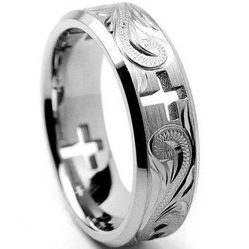 ONETOW 7MM Titanium Ring Wedding Band With Cross Cut Out and Engraved Floral Design