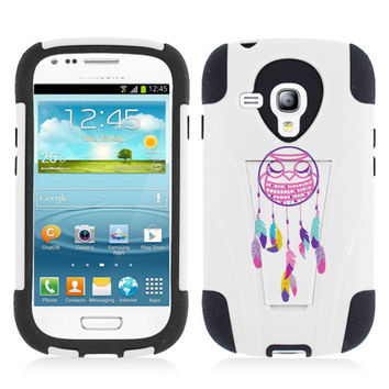 Hybrid Custom White/Black Y Stand Owl Dream Catcher Protective Case for Samsung Galaxy S III S3 mini i8190
