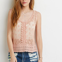 Embroidered Crochet-Paneled Top