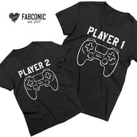 Player 1 Player 2 Shirts, Daddy and me shirts, Matching Player 1 Player 2 shirts, Daddy and me matching shirts, Screen-printed