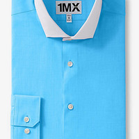 Fitted 1MX Textured Contrast Collar Shirt from EXPRESS