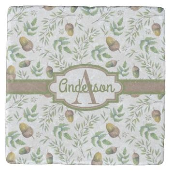 Pretty Fall Acorn Patterned Monogrammed Stone Coaster