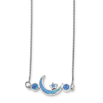 Sterling Silver Rhodium-plated Imitation Opal Moon & Star Necklace