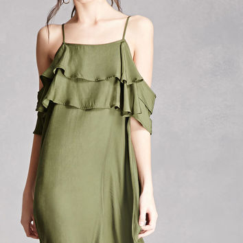 Flounced Open-Shoulder Dress
