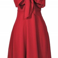 Red Strapless Chiffon Dress with Bow Front