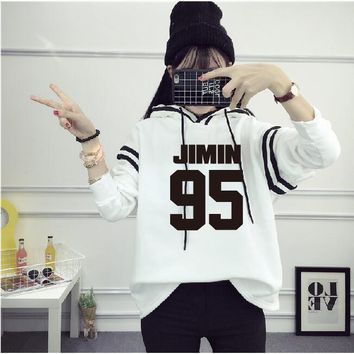 KPOP BTS Bangtan Boys Army 2018 new  fashion   Boys concert Periphery JIMIN SUGA V The same paragraph Long sleeve Hooded Sweatshirts Coat AT_89_10