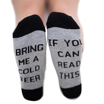 Bring Me A Cold Beer If You Can Read This - Ankle Length Socks Funny Crazy Cool Novelty Cute Fun Funky Colorful