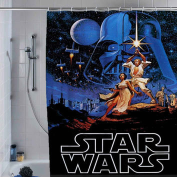 Retro Star Wars Shower Curtain shower curtain, custom shower curtain.