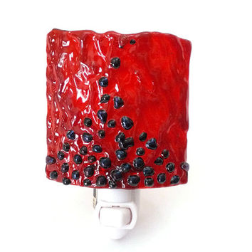 Night Light with Red Fused Stained Glass, Plug In Light with Switch Options