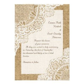 Elegant rustic white corner lace on burlap wedding personalized invites from Zazzle.com