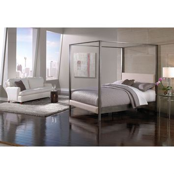 King size Modern Metal Platform Canopy Bed Frame with Upholstered Headboard and Footboard