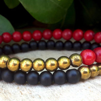 FREE SHIPPING, Mens Womens Gold Pyrite Black Onyx Red Coral Bracelets Set, Mala, Yoga Jewelry, Protection, Meditation, Anniversary Gift