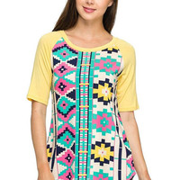 Aztec print yellow top