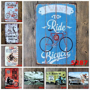 Live to Ride, Ride to Live Route 66 Survivor Parking Only Retro Tin Signs Metal Art Wall Decor for Bike Shop Repair Shop Garage Mancave Decor