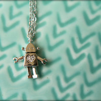Tiny  Robot Necklace with Diamond Heart, Available in Silver or Gold, Female Version