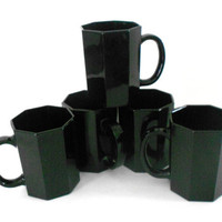 Black Glass Cups ARCOROC 1970s Kitchen Made in France