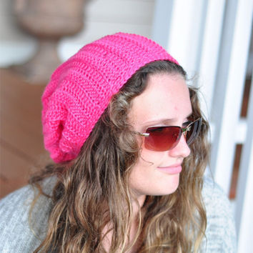 Slouch Hat, Slouchy Beanie, Knit Unisex hat in Hot Pink - Skater Hat. -Ready to Ship
