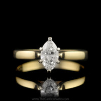 Marquise 1/2ct Diamond Engagement Ring Cathedral Mounting in 14K Yellow Gold
