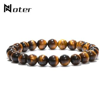 Noter Minimalist Natural Stone Beads Buddha Bracelet Brown Tiger Eyes Yoga Meditation Braclet For Men Women Hand Jewelry Homme
