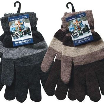 Men's Knitted Stripes Gloves - CASE OF 144