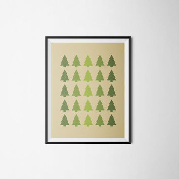 Modern Geometric Tree Pattern Print- Mountains, Camping, Rustic, Masculine, Boys, Tan, Brown, Green