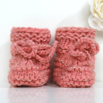Peach Baby Booties, Baby Girl Shoes, Knitted Newborn Booties, Baby Girl Booties