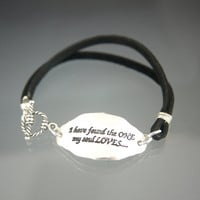 Recycled Sterling Silver Song of Solomon Love Bible Verse Quote Leather Charm Bracelet
