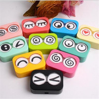 Travel Mini Eye Shape Contact Lens Case Box Container Holder Tweezers Set FINe