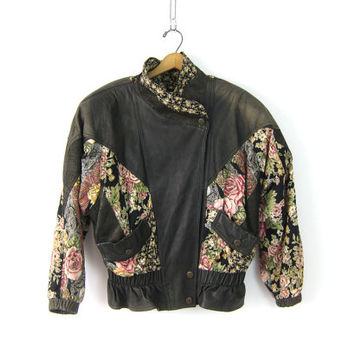 Slouchy Leather Motorcycle Coat Floral Patches Punk Patchwork Rocker 80s Jacket Black Womens Moto Bomber Biker Punk Women's Medium Large