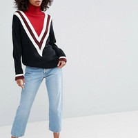 ASOS Sweater with High Neck and Chevron Detail at asos.com