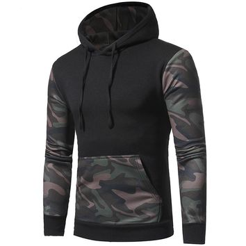 Green Camouflage Camo Pullover Hoodie For Men