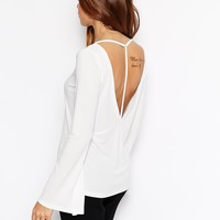 ASOS Tunic Top in Crepe with Strap Back and Bell Sleeve