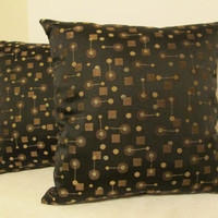 "Pillow Covers 18"" Set of Two Black, Brown, Beige Geometric Print."