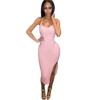 2017 Summer style Spaghetti Strap Cross Front Bandage Dress Backless V-neck Cut Out Dress Mid-Calf Dress bodycon dresses club