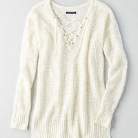 AEO Lace-Up Sweater, Cream
