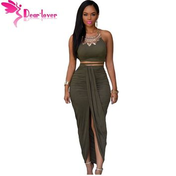 Fashion Faux Suede Two Piece Crop Top with Wrapped Maxi Skirts