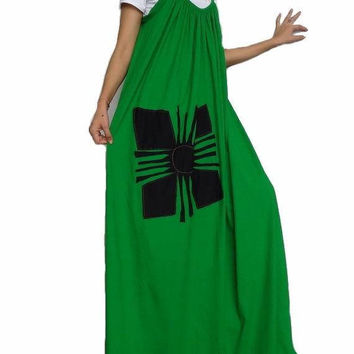 Women Maxi Spaghetti Applique Long Dress ,Casual Gypsy Bohemian Dress ,Grass Green  In Cotton Blend (Dress*18).