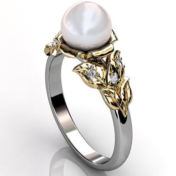 14k two tone white and yellow gold South Sea pearl diamond unusual unique floral engagement ring, bridal ring, wedding ring ER-1067-4