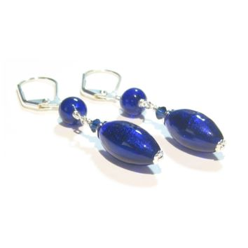 Murano Glass Cobalt Blue Long Sterling Silver Earrings