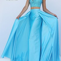 Two Piece Jewel Embellished Bodice Floor Length Dress by Sherri Hill