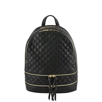 CREY78W Blush Metallic Quilted Backpack