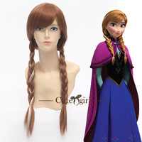 Popular Lovely Frozen Princess Anna Brown Braids Anime Cosplay Wig Hair Wig Women Wig
