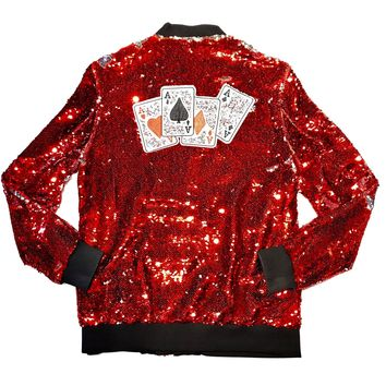 "Barabas Men's Red/Silver ""Card"" Sequin Bomber Jacket"